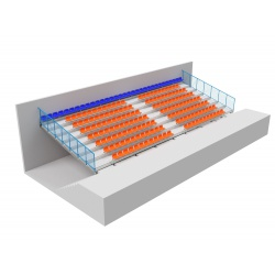 Stationary tribune with plastic seats - type TSH 200, mounted to oblique beams